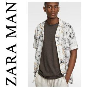 ZARA Tie Dye Button Front Shirt